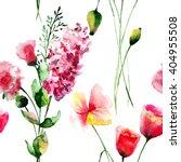 seamless wallpaper with flowers ... | Shutterstock . vector #404955508