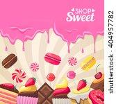 sweet dessert food frame... | Shutterstock .eps vector #404957782