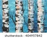 Art Of Birch Trees Against Blu...