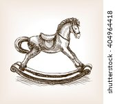 Vintage rocking horse toy sketch style vector illustration. Old hand drawn engraving imitation. Vintage object illustration