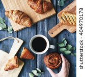 breakfast with croissants ... | Shutterstock . vector #404970178
