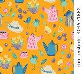 spring garden seamless vector... | Shutterstock .eps vector #404971882