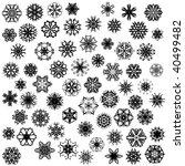 many vector snowflakes on white | Shutterstock .eps vector #40499482