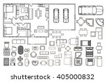 architecture plan with... | Shutterstock .eps vector #405000832