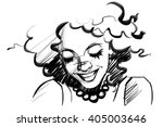 beautiful smiling woman face... | Shutterstock . vector #405003646