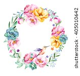 colorful floral wreath with... | Shutterstock . vector #405010642
