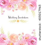 Stock photo wedding invitation template with hand painted watercolor flowers and branches in pink and yellow 405017965