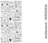 back to school doodle set.... | Shutterstock .eps vector #405020326