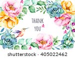 beautiful watercolor frame... | Shutterstock . vector #405022462