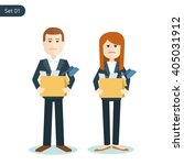 unemployed sad man and woman... | Shutterstock .eps vector #405031912