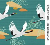 Seamless Pattern With Cranes....