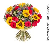 yellow and red flowers bouquet... | Shutterstock . vector #405063208