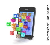 icon app fall in smart phone....   Shutterstock . vector #405090895