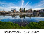 bridge and houses reflection in ... | Shutterstock . vector #405102325