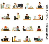 businessmen working at... | Shutterstock .eps vector #405141406