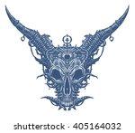 metal satan goat head on the... | Shutterstock . vector #405164032