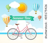 summer card with hot air... | Shutterstock .eps vector #405175426