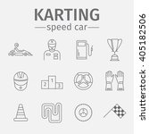 karting flat icon set. speed... | Shutterstock .eps vector #405182506