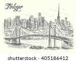 tokyo bridge and cityscape... | Shutterstock .eps vector #405186412