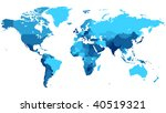 detailed map of the world with... | Shutterstock .eps vector #40519321