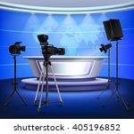 realistic blue news studio... | Shutterstock .eps vector #405196852