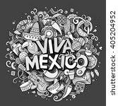 viva mexico sketchy outline... | Shutterstock .eps vector #405204952