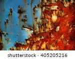 Rusty   Blue And Red On A Old...