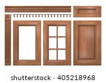 Stock photo front collection of isolated wooden doors drawer column cornice for kitchen cabinet d rendering 405218968