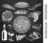 hand sketched italian menu.... | Shutterstock .eps vector #405256468