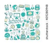 back to school doodle set.... | Shutterstock .eps vector #405280948
