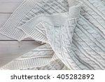 white knitted blanket. lying on ... | Shutterstock . vector #405282892