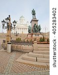 Small photo of St. Nicholas Church and a monument of Alexander II on the Senatorial area in Helsinki, Finland.