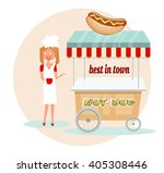 retro hot dog shop  cart with... | Shutterstock .eps vector #405308446