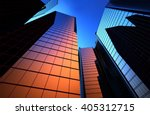 reflection of skyscrapers in... | Shutterstock . vector #405312715