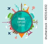 travel composition with famous... | Shutterstock .eps vector #405314332