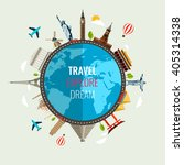 travel composition with famous...   Shutterstock .eps vector #405314338