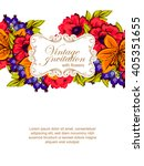 invitation with floral... | Shutterstock . vector #405351655