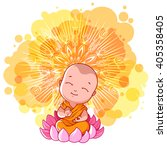 little meditating monk on the... | Shutterstock .eps vector #405358405