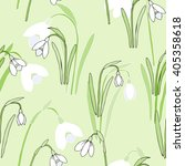 seamless pattern with snowdrops.... | Shutterstock .eps vector #405358618