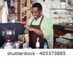 portrait of cheerful barista... | Shutterstock . vector #405373885
