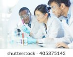 group of scientists studying... | Shutterstock . vector #405375142