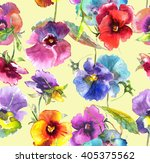 beautiful colorful pansies... | Shutterstock . vector #405375562