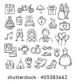 wedding icons. hand sketched... | Shutterstock .eps vector #405383662