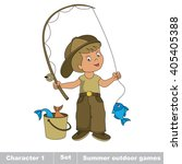 one young fisherman in cap with ...   Shutterstock . vector #405405388