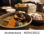 soup curry chicken and... | Shutterstock . vector #405415012
