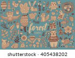 vector forest elements in...   Shutterstock .eps vector #405438202