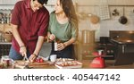 couple cooking hobby lifestyle... | Shutterstock . vector #405447142