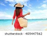 Woman Tourist Walking On...
