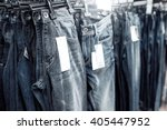 clothes on clothes rail in... | Shutterstock . vector #405447952