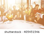 group casual people arms raised ... | Shutterstock . vector #405451546